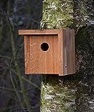 Luxus-Vogelhaus 46755e Designer Nistkasten für Vögel, aus Holz (Eiche, Massivholz), für Garten, Balkon, asymmetrisches Dach, Farbe: Natur – Nisthilfe Vogelhaus - 5