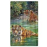 NDJHEH Strandtücher Handtücher Bath Towel Cool Tiger Oil Painting Creative Design Soft Beach Towel 31