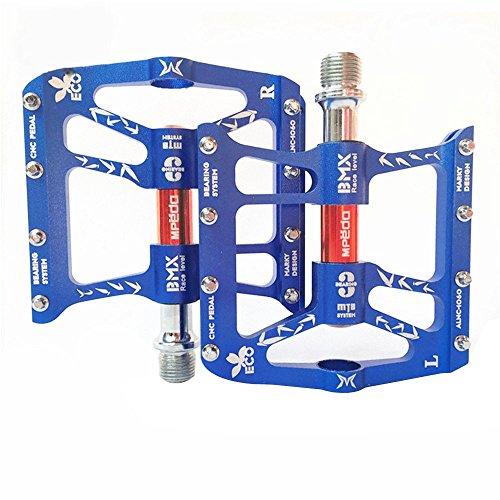 LARS360 10 cm x 11.5 cm 2er Blau Fahrradpedale Mountainbike Plattform Leicht Pedale CNC Aluminium Schmetterling Design Plattformpedale mit Anti Rutschpedal für Mountainbike Rennrad Stadtrad