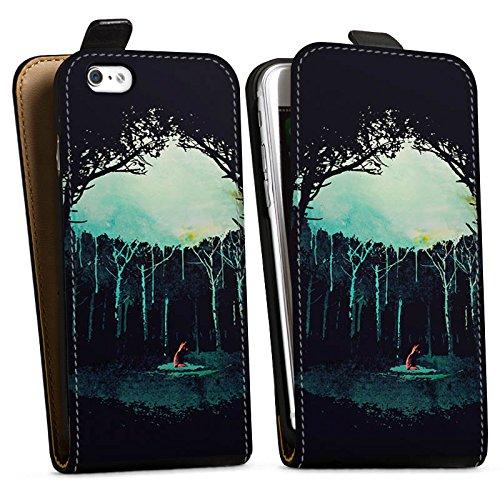 Apple iPhone X Silikon Hülle Case Schutzhülle Wald Art Forest Downflip Tasche schwarz