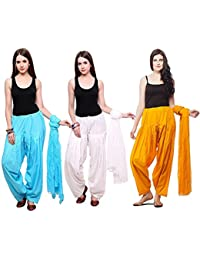 Green World Products Combo Of Sky Blue, White & Mustard Of 3 Colours Women & Girls Solid Cotton Mix Best Indian...