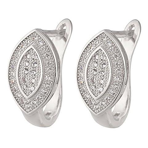 925/- Sterling-Silber Damen Ohrringe Klapp-Creoen im Navette-Design mit in Micro Pave gefassten Zirkonia 17 mm