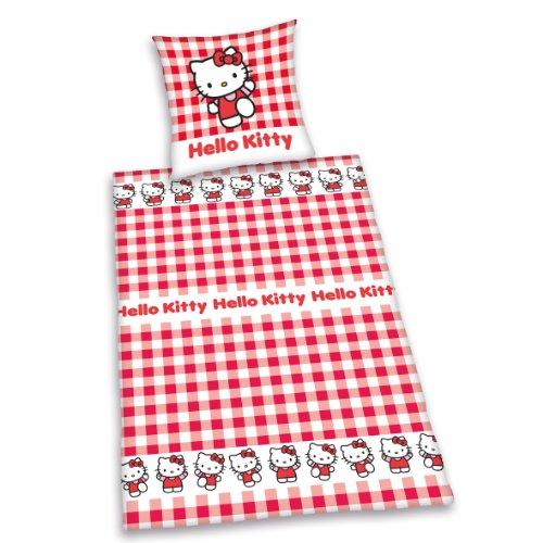 Herding 448131050412 Bettwäsche Hello Kitty, Kopfkissenbezug: 80 x 80 cm + Bettbezug: 135 x 200 cm, 100 % Baumwolle, Renforce