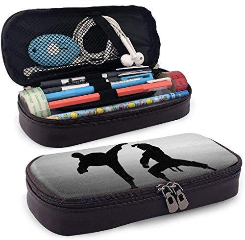 Karate Silhouette Leder Federmäppchen Stifthalter mit Reißverschluss für Mädchen und Jungen - Bleistiftbeutel Schreibwaren Aufbewahrungstasche für das Schulbüro (braun)