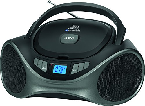 AEG SR 4375 Stereoradio mit Bluetooth/CD/MP3,USB-Port,AUX-Eingang,LCD-Display (blau beleuchtet) schwarz