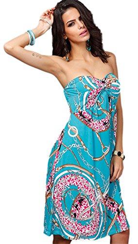 Honeystore Damen's Fashion Gedruckt Maxi Insel Strand Casual Sommer Trägerkleid Grün