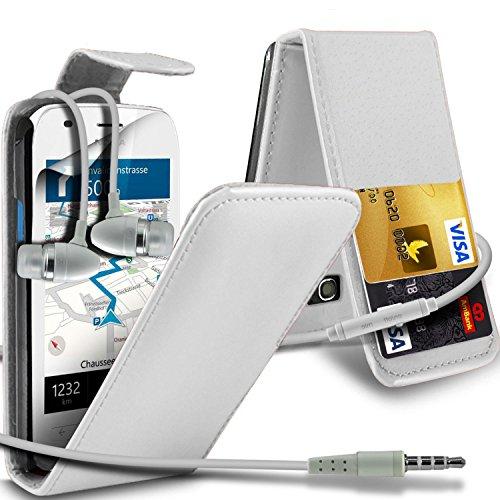 Nokia Lumia 710 High Quality Faux Skin Case flip carte de crédit / débit Slot couverture en cuir & Protecteur d'écran LCD Garde by i-Tronixs ( Blanc ) pour écouteurs
