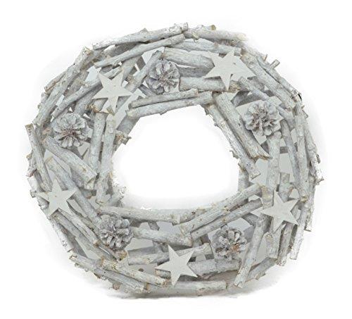 Weiß 40cm Adventskranz Türkranz Kranz Sternen Tannenzapfel Zapfe Stockkranz Naturkranz (Stern Kranz)