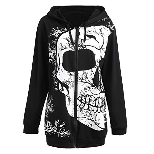(Halloween-Pullover für Frauen - lose Bluse Womens Langarm Kordelzug Kapuzenjacke Ghost Head Printed Outwear Mode Übergröße Jacke Winter Reißverschluss Mantel)