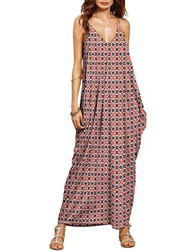 OOFIT Damen Sommerkleid lange V-Ausschnitt Swing Maxi Oversize Party  Strandkleid, Gr.M