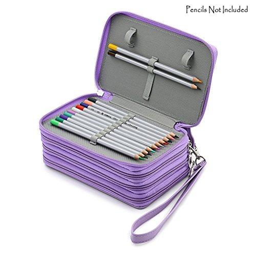 Niutop 72 PU Leder Buntstifte Federmäppchen Mit Reißverschluss Großer Kapazität Bleistiftkasten Stationary Pouch Makeup Case Kosmetiktasche (Violett)