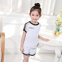 YT La Camiseta Infantil de Xiazhongda Pone en Cortocircuito Dos Juegos de Malla de Algodón Puro,Blanco,150cm