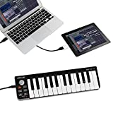SHUOGOU Mini Portable 25 Key USB-MIDI Controller Elektronisches Orgel USB MIDI Keyboard mit Synth-Action Velocity Sensible Keys für Mac und PC