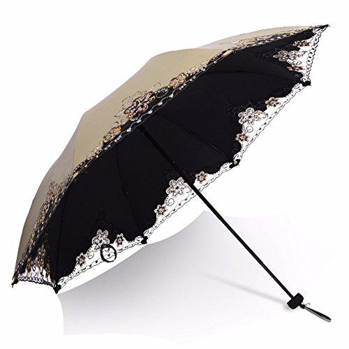 BBSLT Ombrello ombrello pieghevole in plastica nera ombrello creative femmina a doppio uso super sun protection ombrello pizzo,bronzo chiaro