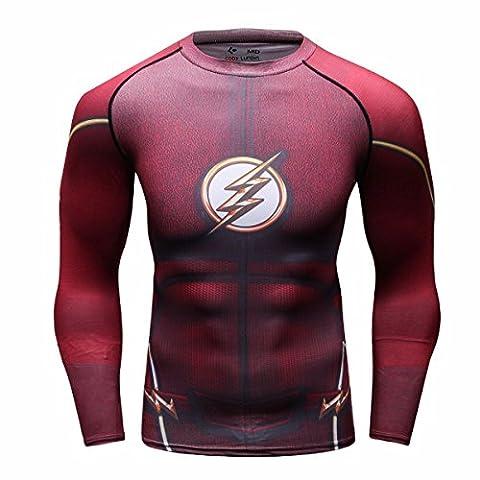 Cody Lundin Herrenmode roten Blitz Logo lässigen T-Shirts Gentleman attraktives Hemd des Mannes Sport Dress-Party im freien Langar (L)
