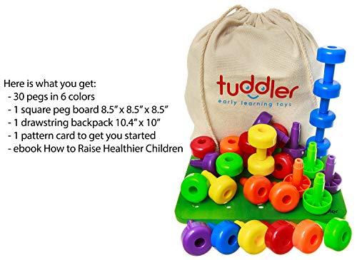 Imagen para Tuddler Paquete Educativo Pegs Incluye un Set de Clavijas Apilables de Colores Brillantes / Juguete Montessori para Niños + Tarjeta de Patrón + Mochila con Cordón para almacenar y ordenar + ebook