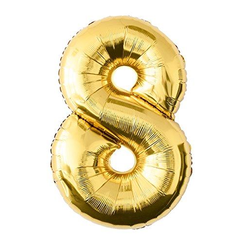 Globo de lámina 8 dorado Número enorme 100 cm rellenable con helio o aero fiesta de cumpleaños