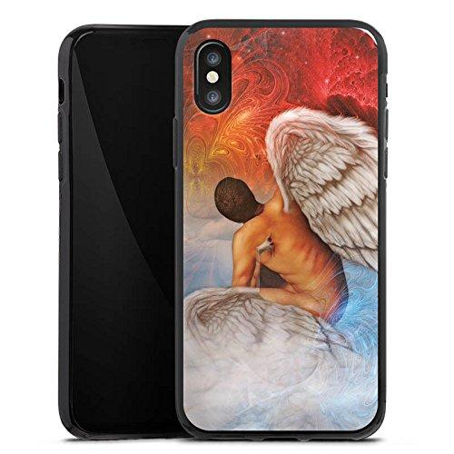 Apple iPhone X Silikon Hülle Case Schutzhülle Engel Kunst Blau Rot Silikon Case schwarz