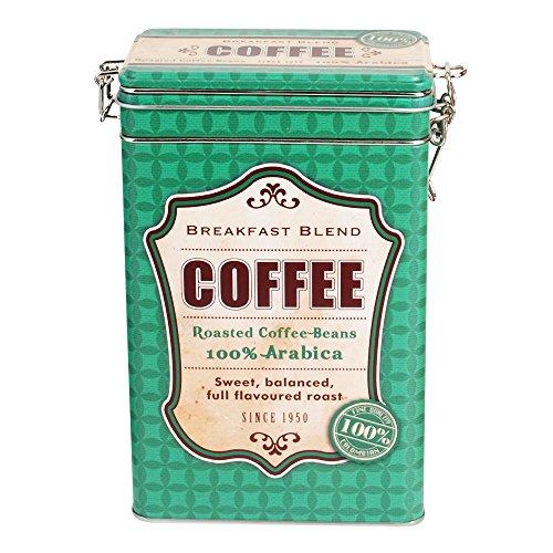 Kaffeedose aus Metall 12 x 8 x 19 cm, Motiv Coffee, grün