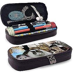 PU-Leder Bleistiftbeutel mit Reißverschluss, verschiedene Katzenrassen, große Speicherkapazität, Filzstifthalter, Schminktäschchen