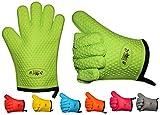 2er Set BBeeQ® Backhandschuhe Silikon und Baumwolle - hitzebeständig bis 300°C - zum Grillen, Kochen, Backen - Topfhandschuhe, Backhandschuhe - Grün
