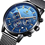 eb4476ba8a53 Relojes Hombre Mejor Marca Acero Inoxidable Impermeable Malla Deportes  analógico de Cuarzo Hombres Reloj Moda Negocios de Lujo Cronógrafo  Calendario Azul ...