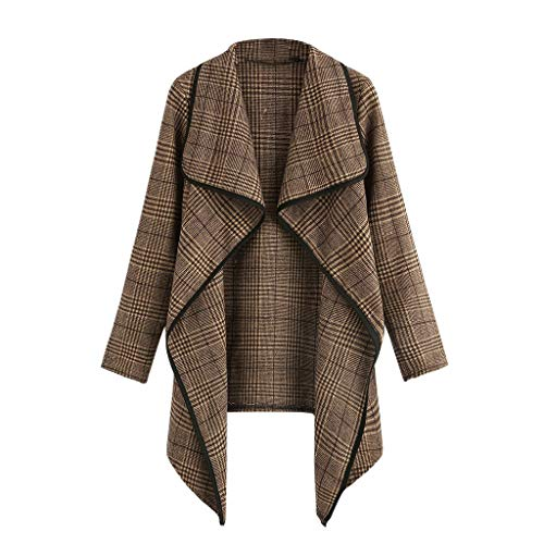Plaid Jacke Mantel (GreatestPAK Große Größe Damen Anzug Karo Unregelmäßige Strickjacke Jacke Oberteil Plaid Open Front Langarm Mantel Parka Outwear Tops)