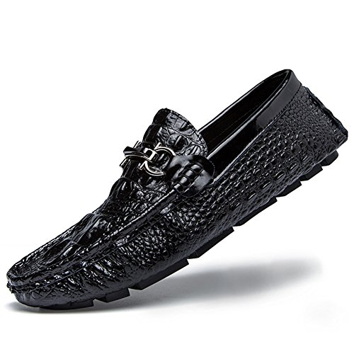 Herren Beiläufige Lederne Schuhe Mokassin Slipper Halbschuhe Freizeit Loafers Schuhe Stil4-Schwarz