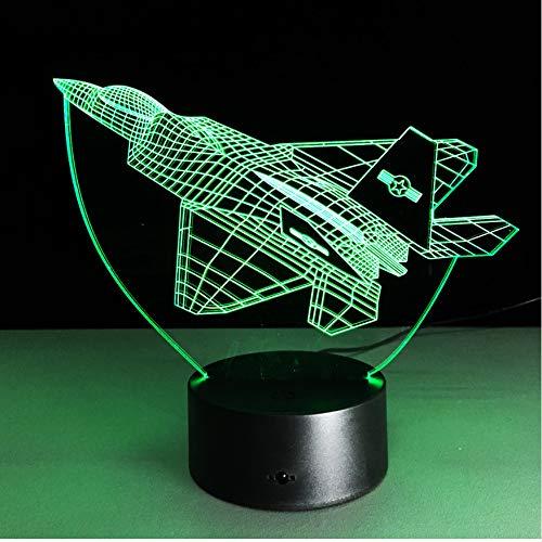 Nachtlicht 3D Optische Täuschung Lampe Flugzeug Tischlampe Multi Colors Jet Plane Mit Usb Power Decor Geschenk Acryl Kinderzimmer