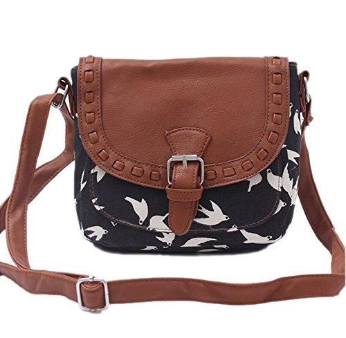 Vintage Damen Canvas Tasche Umhängetasche Tier Gedruckt Messenger Bag Schulranzen Mädchen
