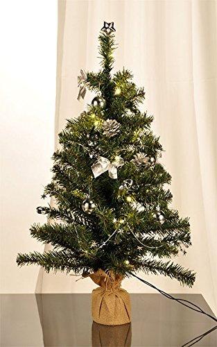 Spetebo Künstlicher Weihnachtsbaum mit 20 LED Lichterkette - Höhe ca. 75 cm - komplett geschmückt und Batterie betrieben