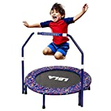 Kids Trampoline with Adjustable Handrail and Safety Padded Cover, Kids Indoor &Outdoor Exercise