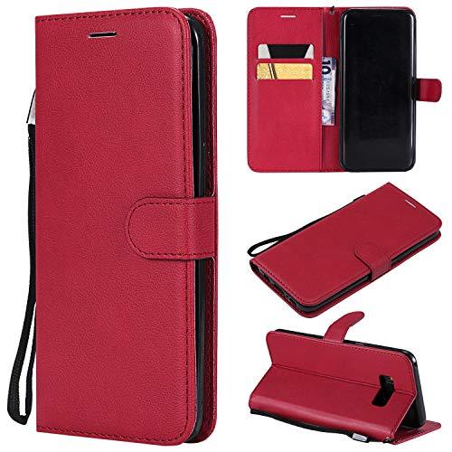 Artfeel Flip Brieftasche Hülle für Samsung Galaxy S8 Plus, Premium PU Leder Handyhülle mit Kartenhalter,Retro Bookstyle Stand Abdeckung mit Magnetverschluss Handschlaufe Hülle-Rot -