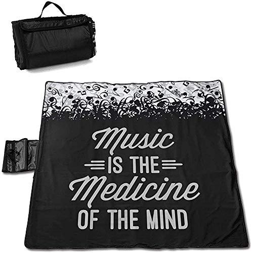 Olga Vaughan Music Medicine Mind Quote Picnic Mat Plegable portátil Tote para Family Camping Concert Durable Camping Mat para Outdoor150 * 145CM