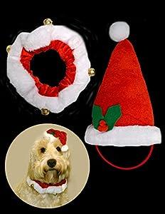 Animal de compagnie Santa Chapeau avec Collier+Bell - Meilleur nouveauté costume pour chiens,chiot,chats - 2 pièces Set
