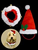 Hundehalsband, mit Weihnachtsmannmütze und Glöckchen, 2-teiliges Set