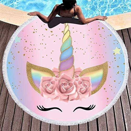 MUJIAB Toalla De Playa Toalla De Playa De Dibujos Animados Unicornio 150Cm Toalla De Playa Redonda Tela De Microfibra Tapicería Tapicería De Picnic Portátil Al Aire Libre