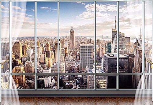 HHCYY 3D Fondos De Pantalla Estéreo Mural Moderno Nueva York Ventanas Falsas...