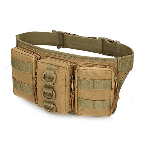 Ruifu militaire tactique Sac banane Fanny Lot pour sports de plein air Sac banane Poche avec 3 compartiments, kaki