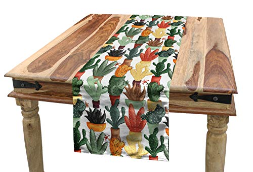 ABAKUHAUS Kaktus Tischläufer, Mexikanische Sukkulente, Esszimmer Küche Rechteckiger Dekorativer Tischläufer, 40 x 300 cm, Mehrfarbig