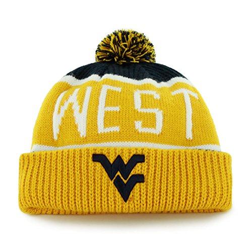 47 Brand Calgary Cuff Beanie Mütze mit POM POM - NCAA Cuffed Knit Cap, Herren, West Virginia Mountaineers