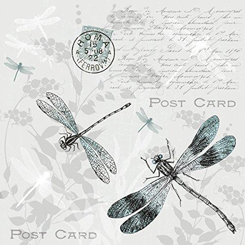 Servietten Napkins 33x33cm Serviettentechnik Vintage Post Card Libellen Schmetterling (Vintage Post Card)