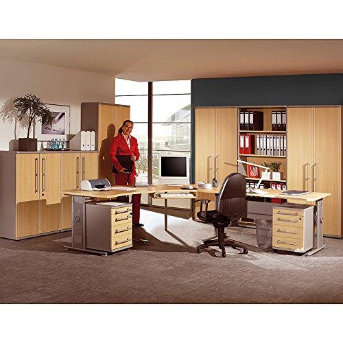 Komplett Büromöbel Set, in Ahorn mit silber, höhenverstellbarer C-Fuß Eckschreibtisch, 2 Rollcontainer, 6 Aktenschränke -