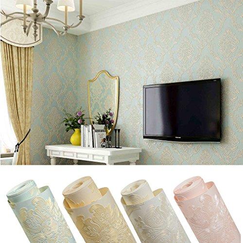 5m² (Hellblau) Elegant 3D Optik Vlies Tapete Fototapeten Barock Rolle Vliestapete Dekoration Wandtapete Mustertapete Für Wohnzimmer , Schlafzimmer