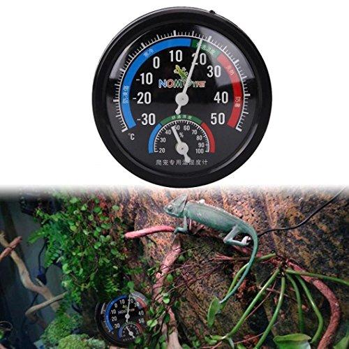igemy Reptile Vivarium cría caja termómetro humedad higrómetro Dial Medidores negro
