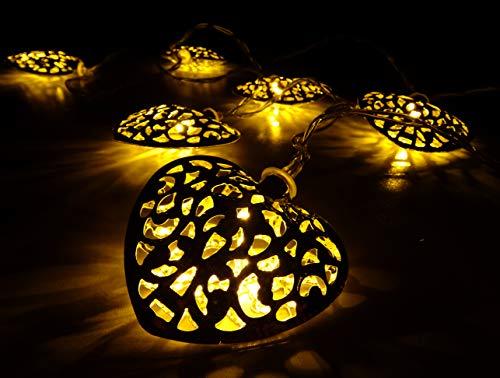 Silver Christmas Lights (10 Warm White LED Metal Silver Heart Shaped Lights - Christmas Lights - Everyday Lights)
