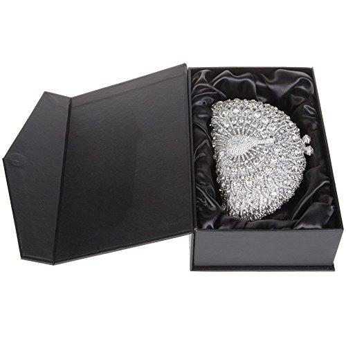 Santimon Donna Pochette Borsa Lusso Diamante Cristallo Pavone Borse Da Festa di Nozze Sera Con Tracolla Amovibile e Pacco Regalo 13 Colori afgento