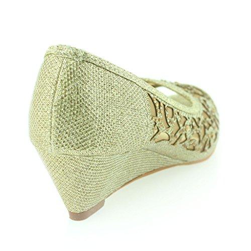 Frau Damen Peeptoe Diamante Klein Keilabsatz Abend Party Hochzeit Schlüpfen Sandale Schuhe Größe Gold