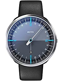 Botta Diseño de uno 24Plus Negro de azul reloj de pulsera–24H einzeiger Reloj, acero inoxidable, cristal de zafiro antirreflejos, correa de piel