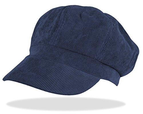 Schirmmütze Damen Ballonmütze Cord Kappe Damen Mütze mit Schirm Damenhut - BM110 (BM110-Dunkelblau)